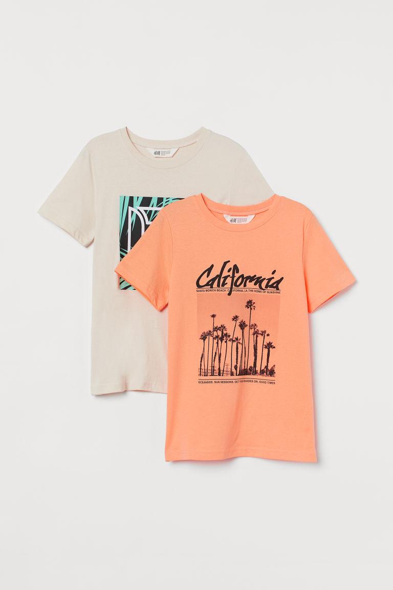 H & M - 2件入圖案T恤 - 橙色