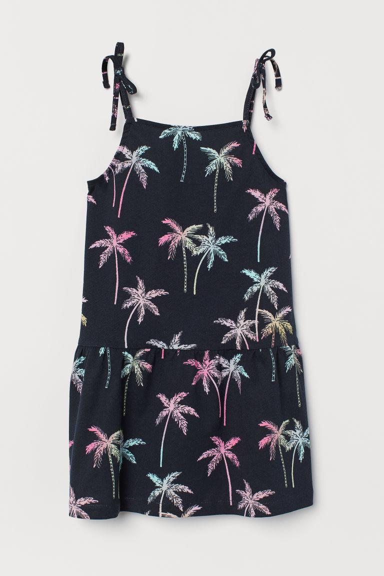 H & M - 印花棉質洋裝 - 黑色