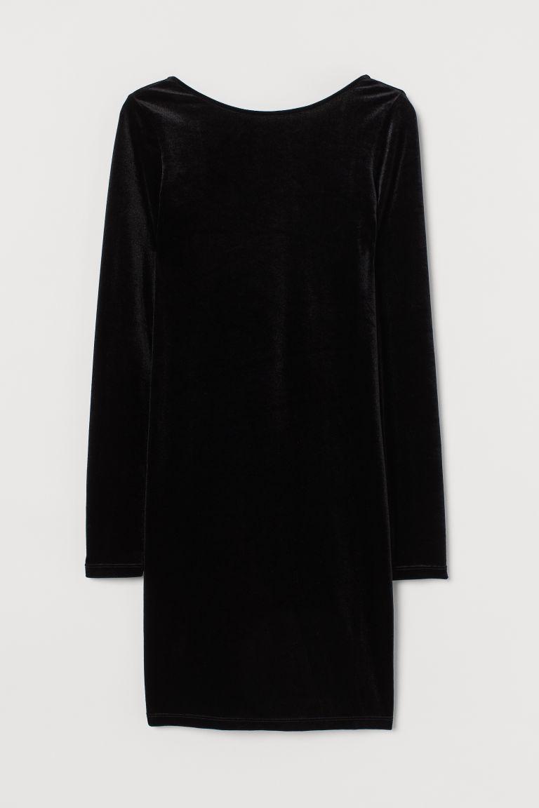 H & M - 串珠飾帶洋裝 - 黑色