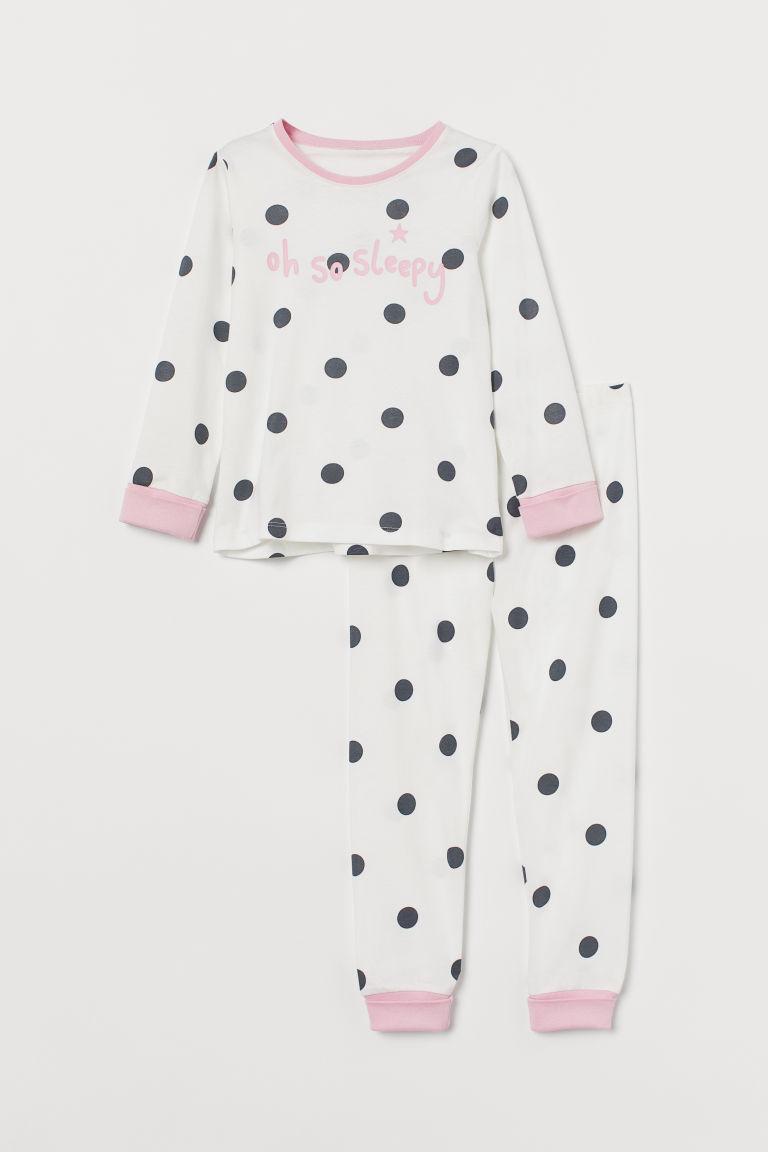 H & M - 翻邊睡衣套裝 - 白色