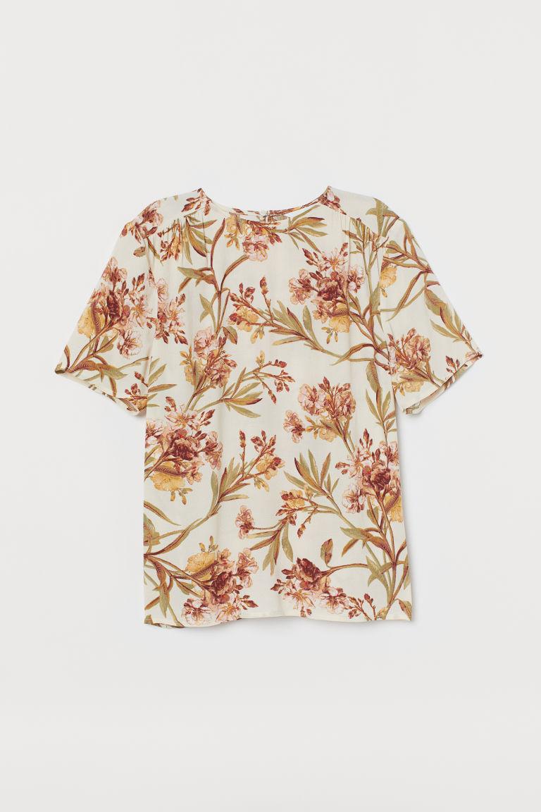 H & M - 縐紗女衫 - 米黃色