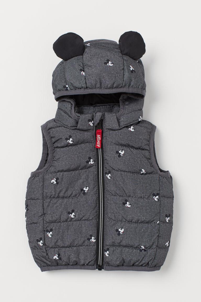 H & M - 鋪棉連帽背心 - 灰色