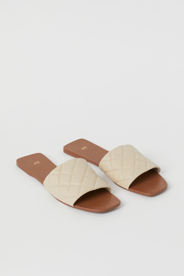 H & M - 車棉涼鞋 - 米黃色