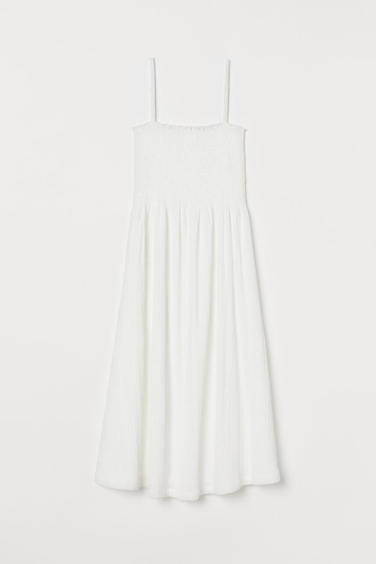 H & M - 褶縐洋裝 - 白色