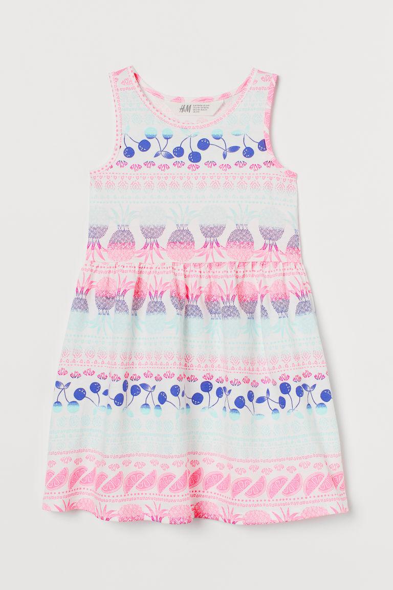H & M - 印花平紋洋裝 - 白色