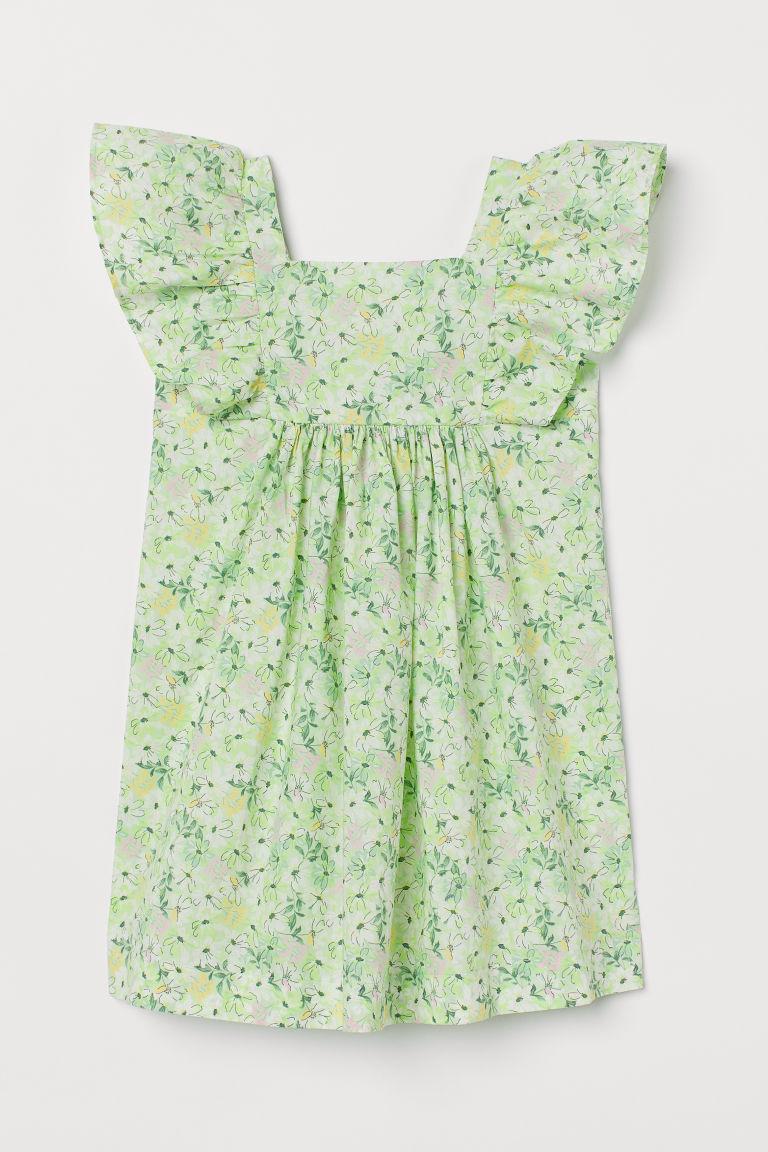 H & M - 荷葉邊洋裝 - 綠色