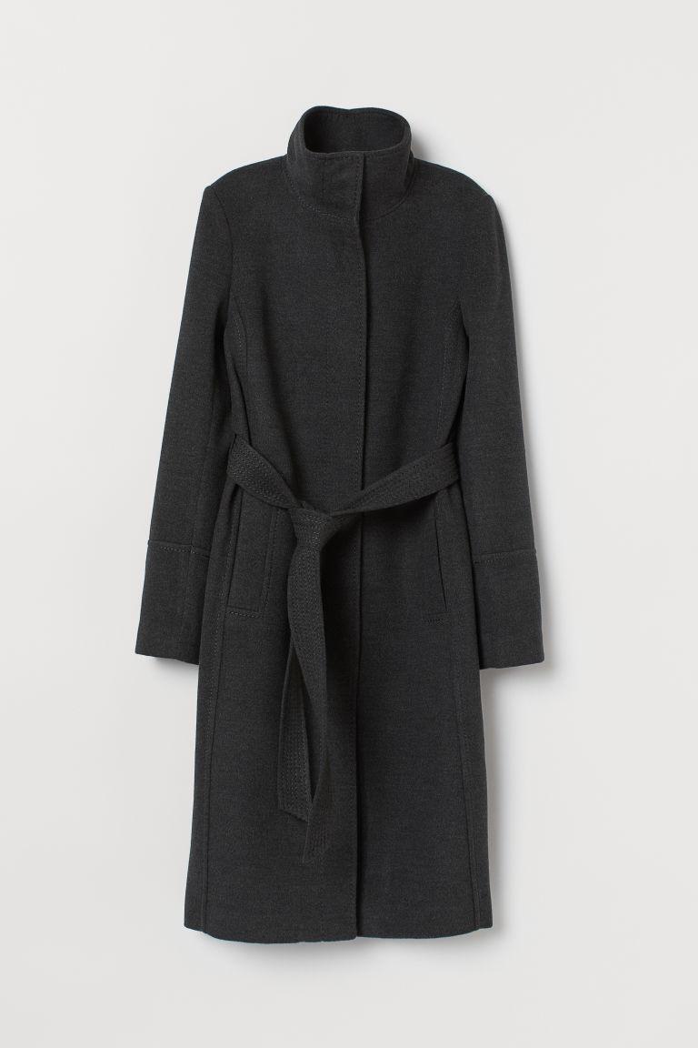 H & M - 綁帶大衣 - 灰色
