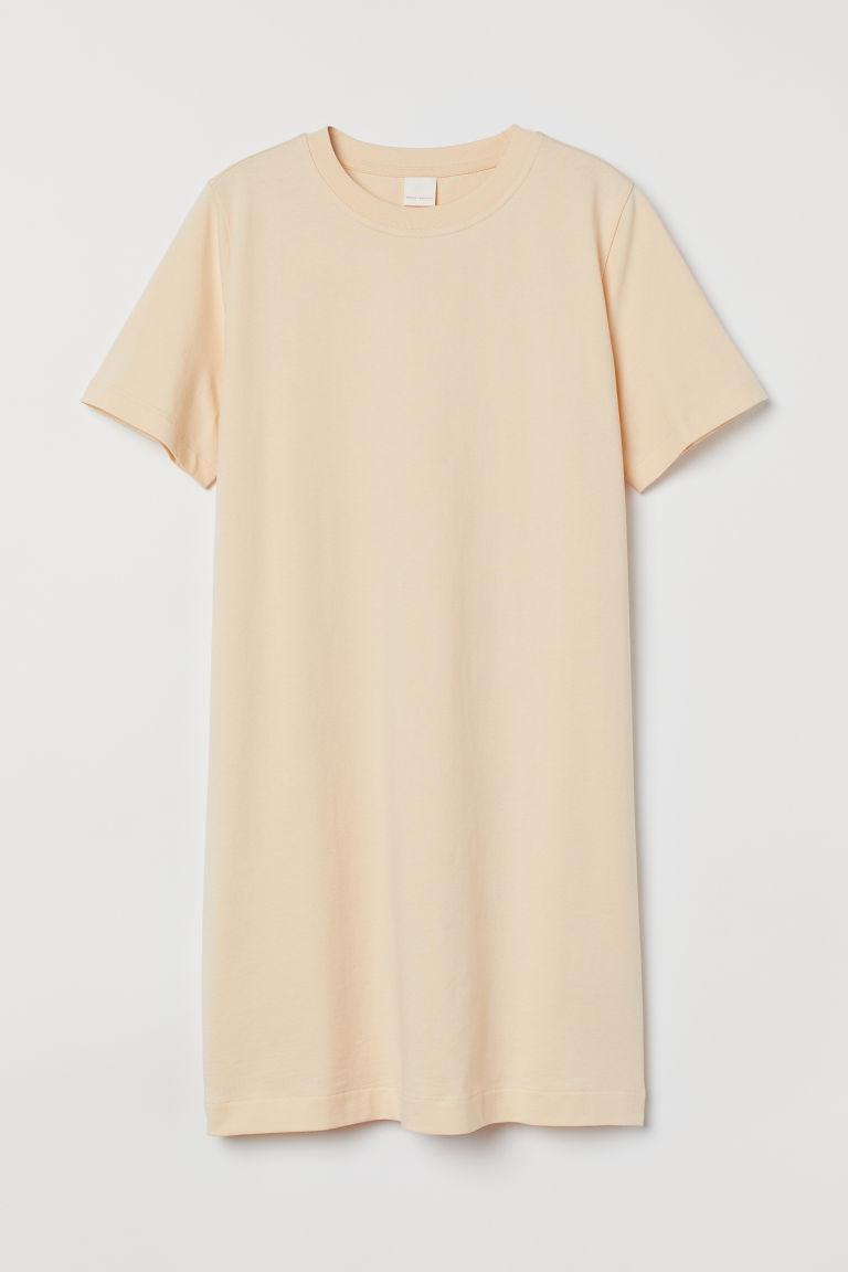 H & M - 棉質T恤洋裝 - 米黃色