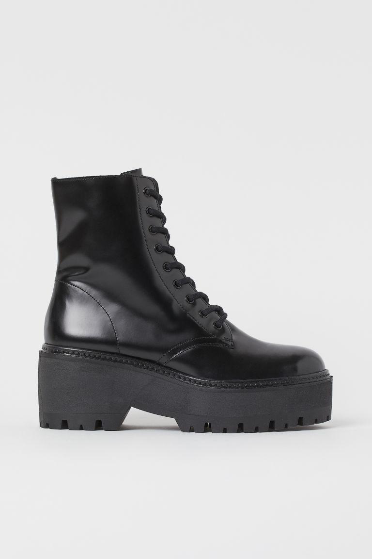 H & M - 真皮厚底靴 - 黑色