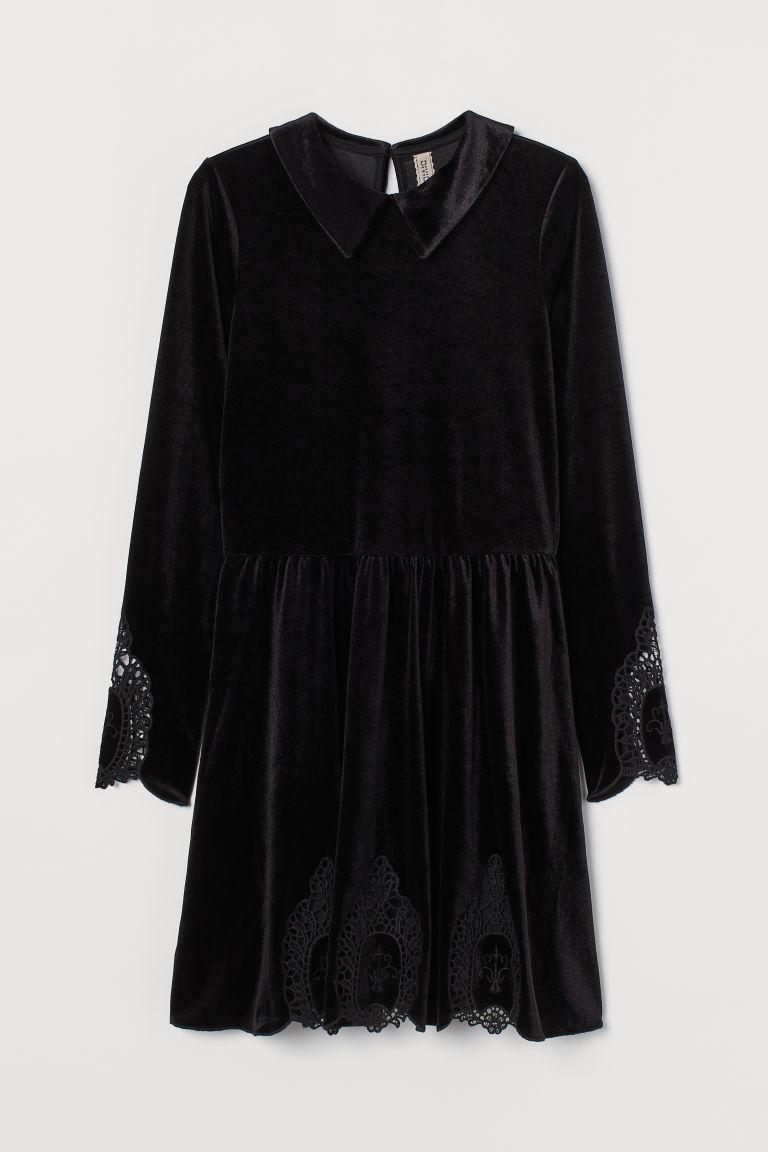 H & M - 蕾絲裝飾絲絨洋裝 - 黑色