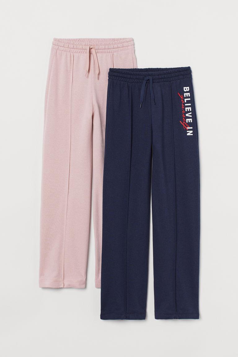 H & M - 2件入褶線慢跑褲 - 藍色