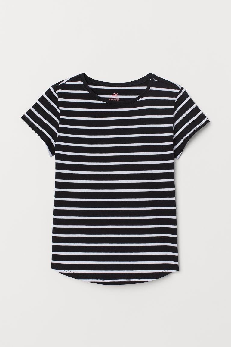 gestreiftes t shirt schwarz wei gestreift kids h m de. Black Bedroom Furniture Sets. Home Design Ideas