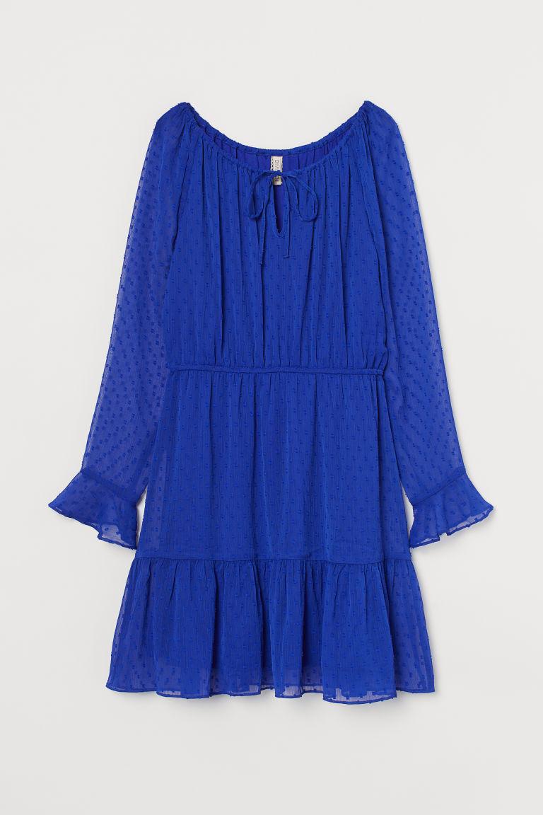 H & M - 薄紗圓點雪紡洋裝 - 藍色