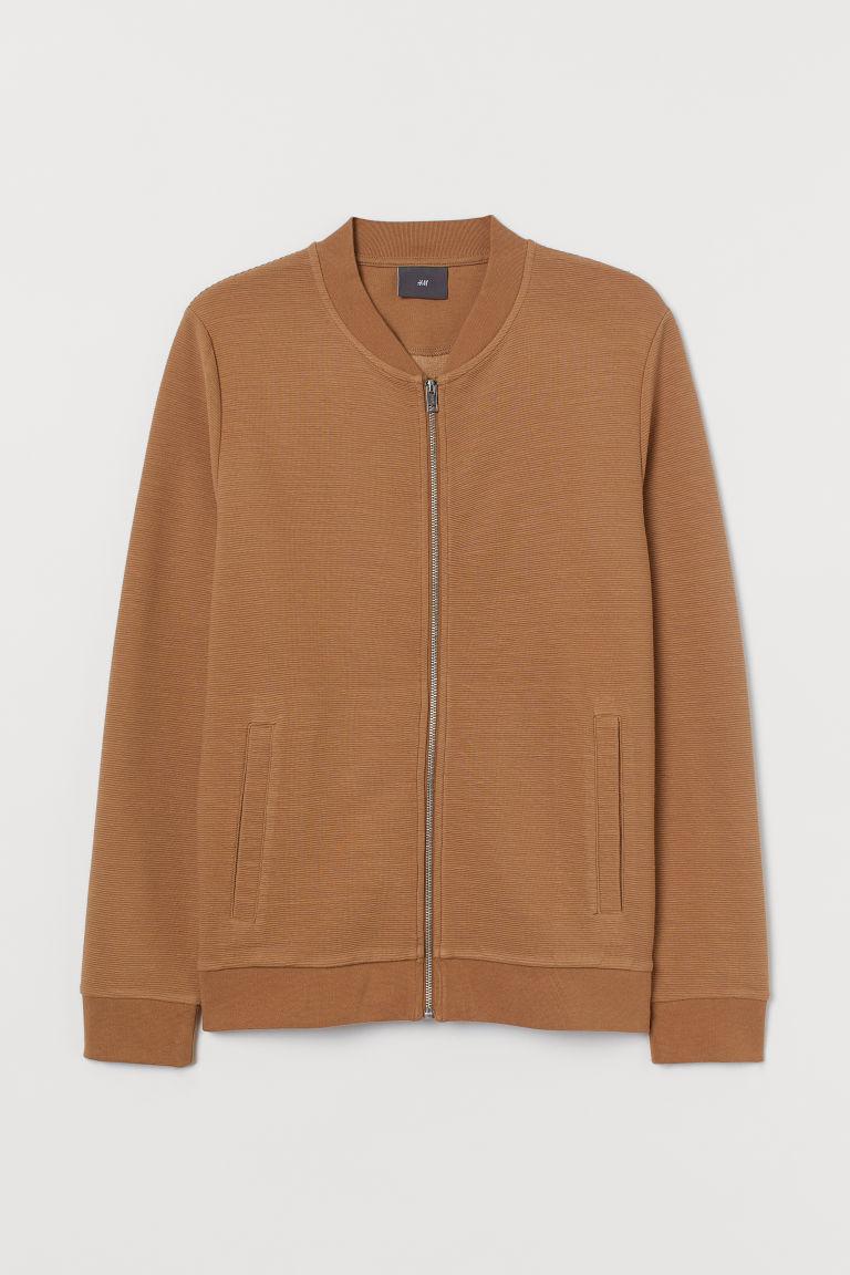 H & M - 拉鍊開襟衫 - 米黃色