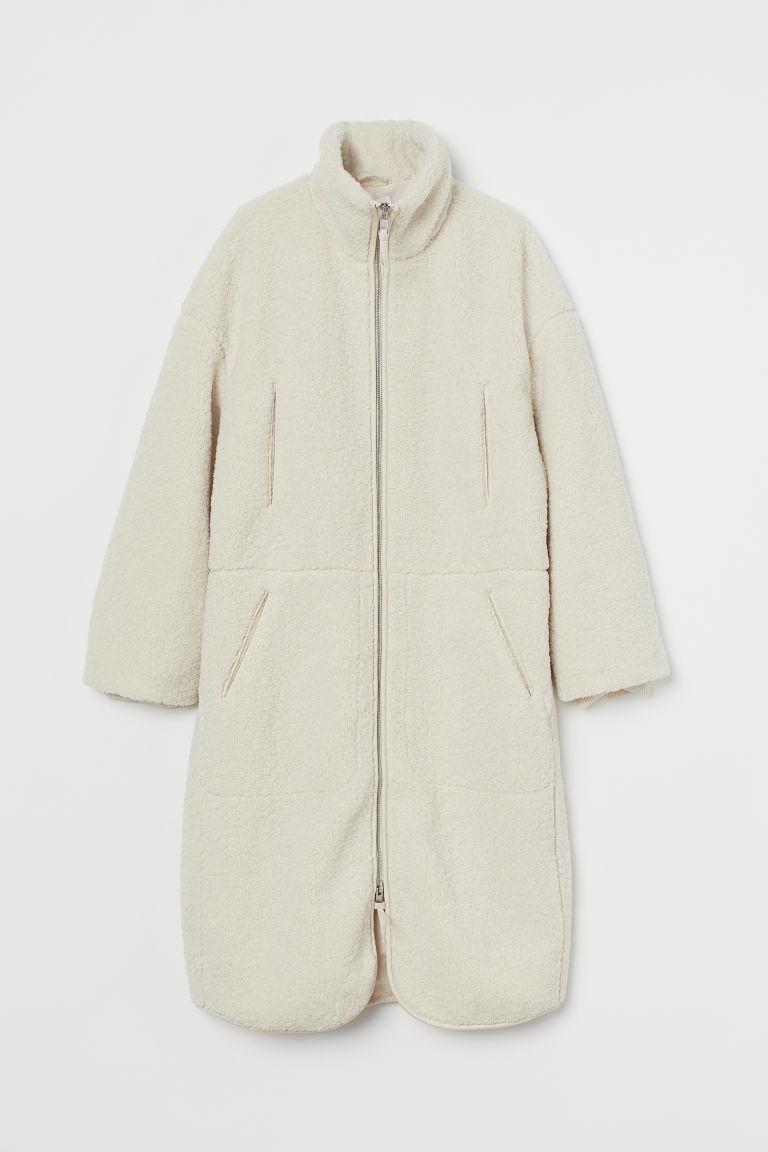 H & M - 仿綿羊大衣 - 米黃色