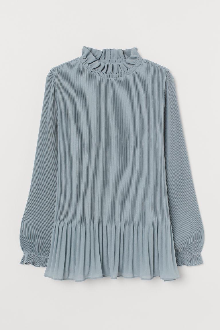 H & M - 百褶女衫 - 藍綠色