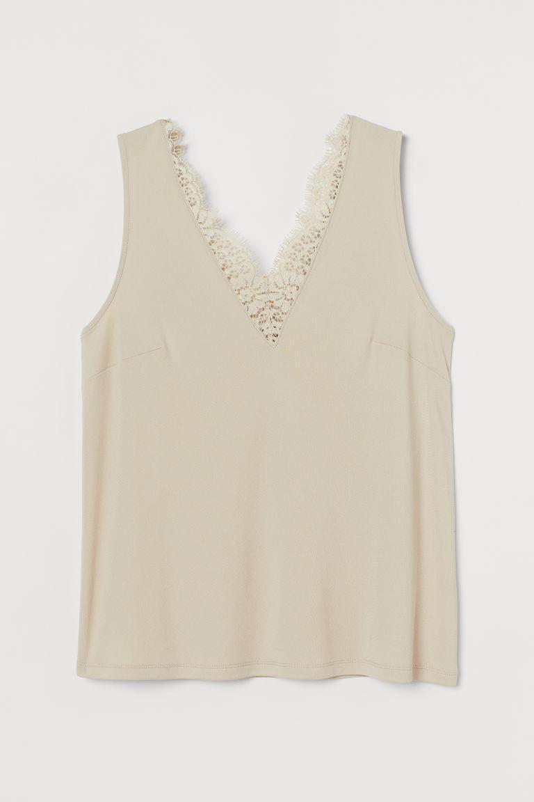 H & M - 蕾絲裝飾無袖上衣 - 米黃色