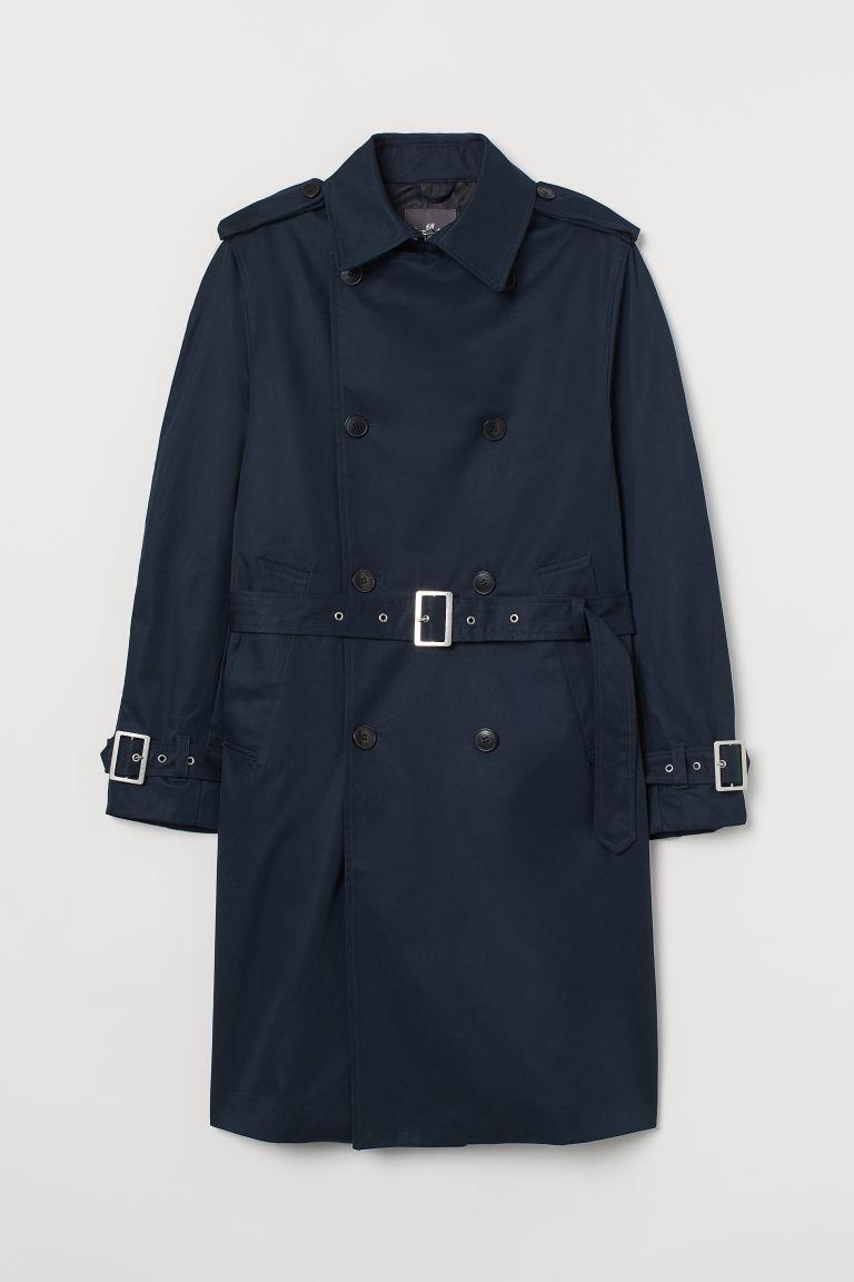 H & M - 棉質斜紋風衣 - 藍色
