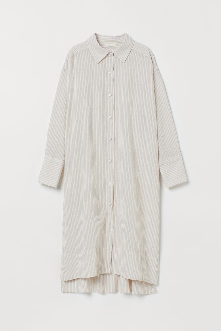 H & M - Skjortklänning i bomull - Beige