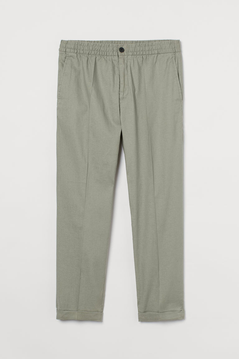H & M - 合身亞麻混紡慢跑褲 - 綠色