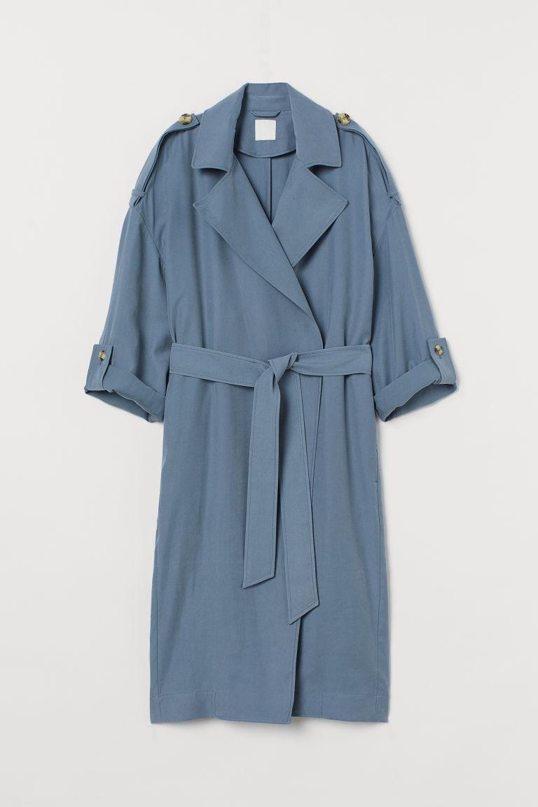 H & M - 綁帶大衣 - 藍色