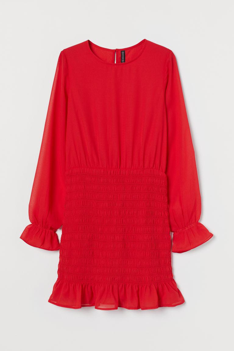 H & M - 縮褶細節洋裝 - 紅色