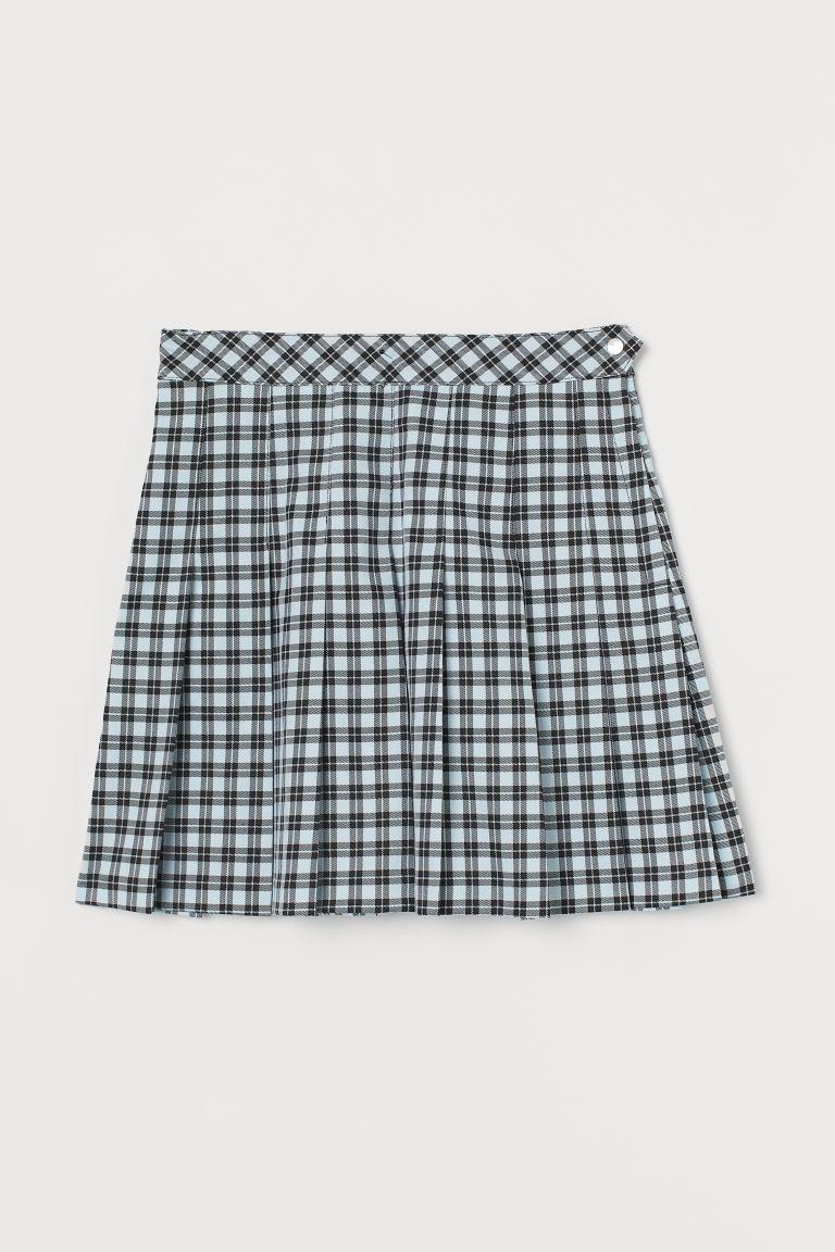 H & M - 百褶裙 - 藍綠色