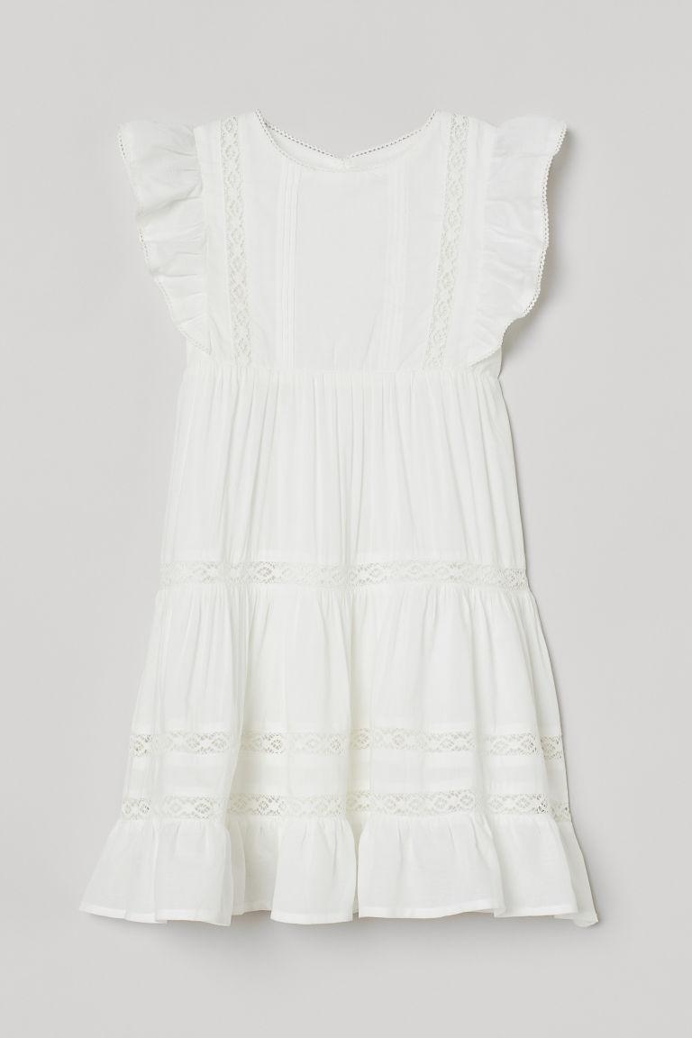 H & M - 蕾絲飾邊莫代爾混紡洋裝 - 白色