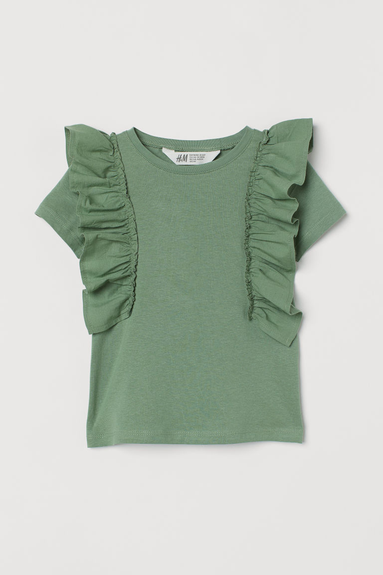 H & M - 荷葉邊棉質上衣 - 綠色