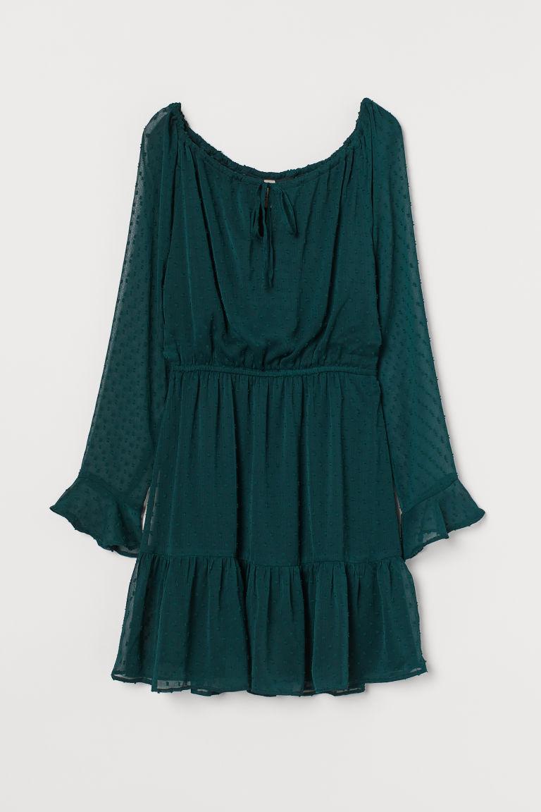 H & M - 薄紗圓點雪紡洋裝 - 綠色