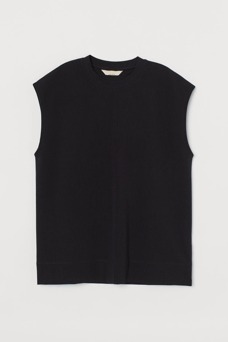 H & M - 比馬棉上衣 - 黑色