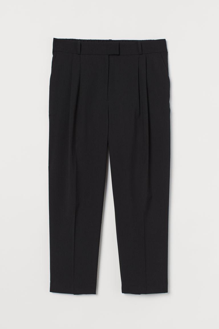 H & M - H & M+ 褶線寬管褲 - 黑色