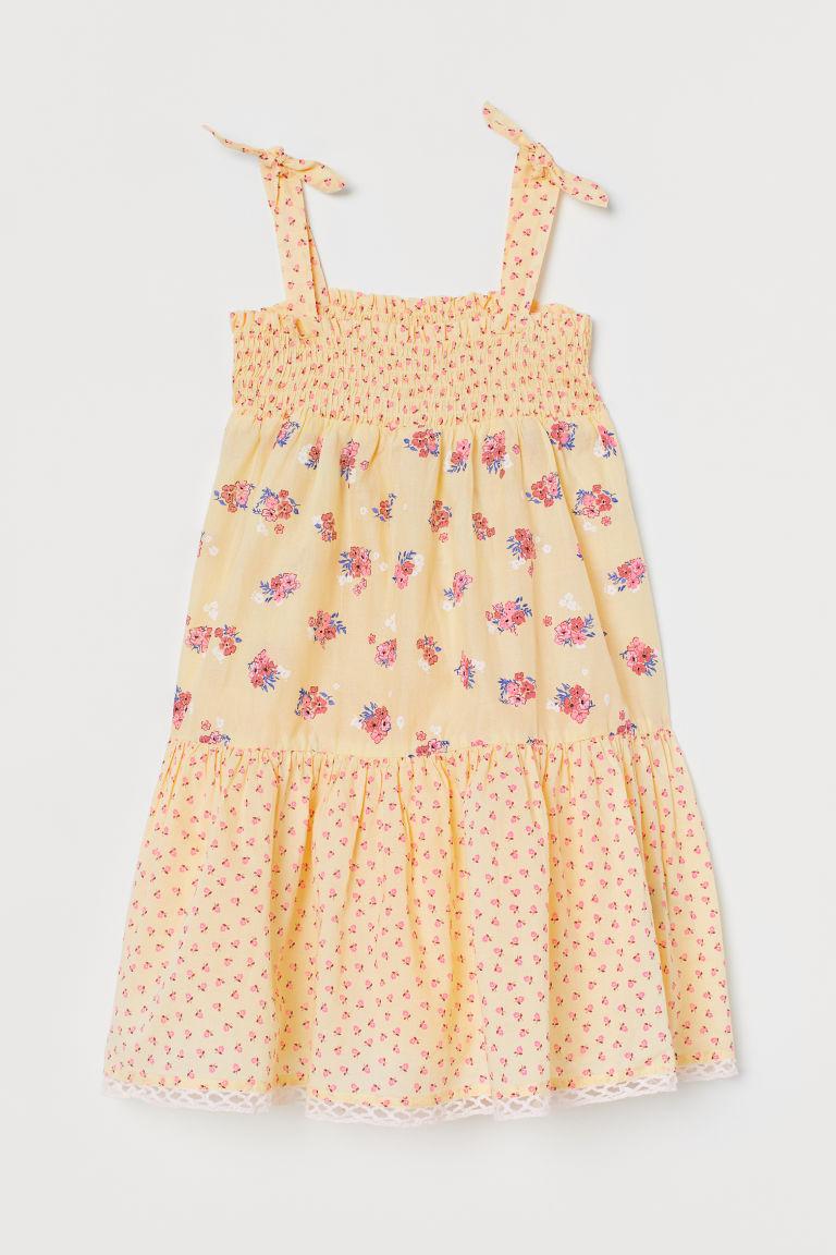 H & M - 縮褶棉質洋裝 - 黃色