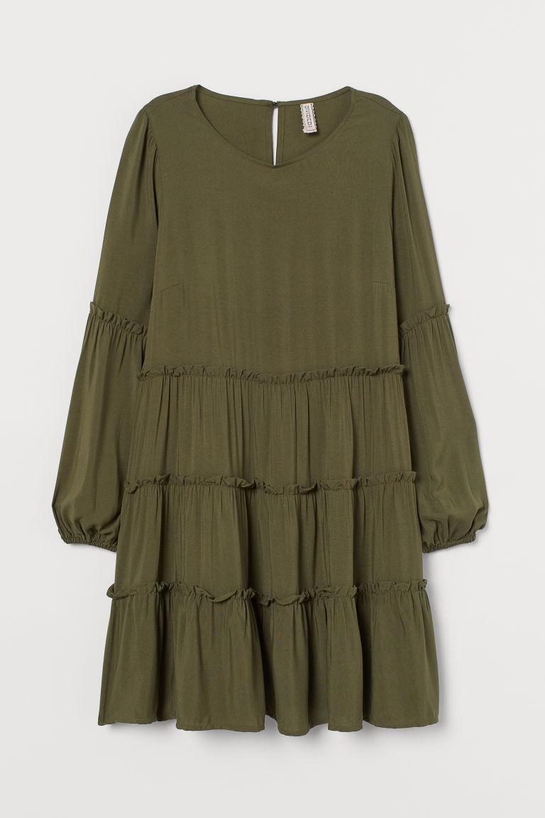 H & M - 傘狀洋裝 - 綠色
