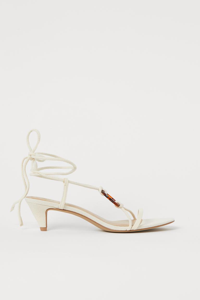H & M - 繫帶涼鞋 - 米黃色