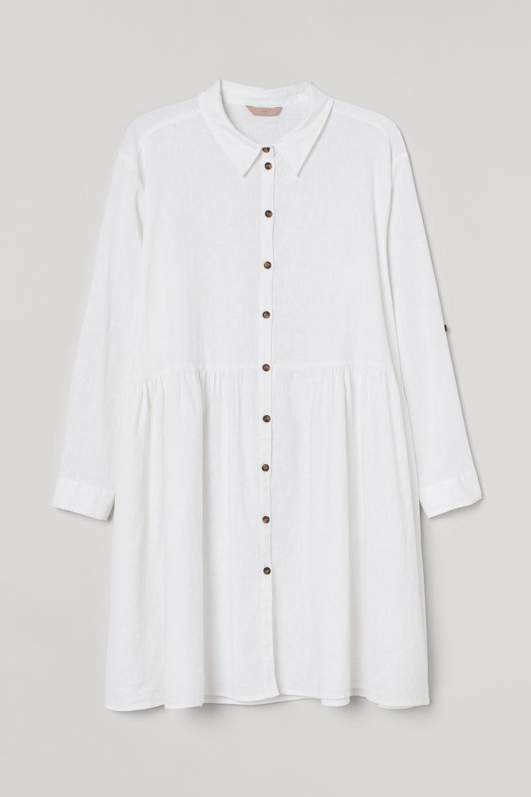 H & M - H & M+ 亞麻混紡襯衫式洋裝 - 白色