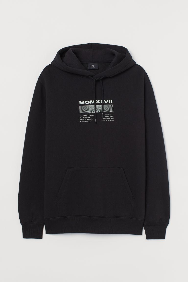 H & M - 印字樣連帽上衣 - 黑色