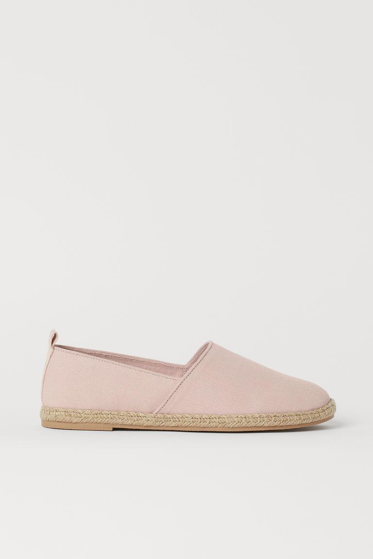 H & M - 棉質帆布草編鞋 - 粉紅色