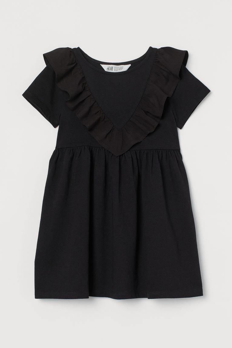H & M - 荷葉邊洋裝 - 黑色