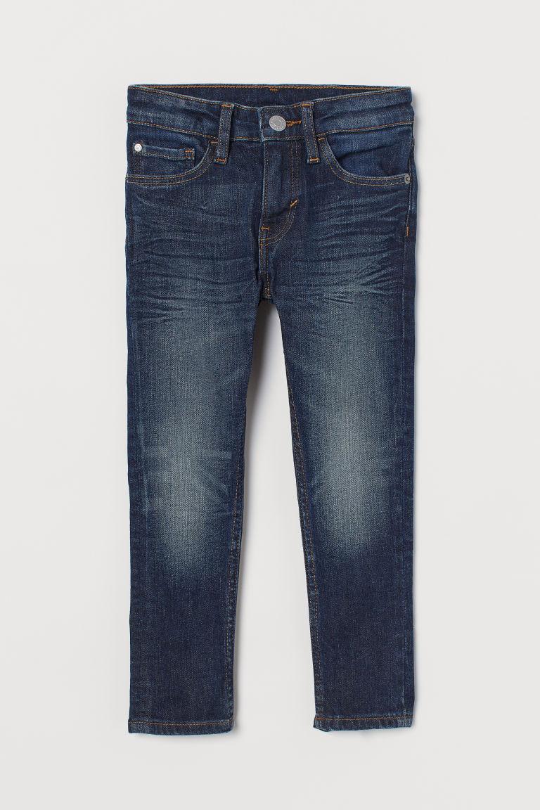 H & M - 窄管彈性牛仔褲 - 藍色