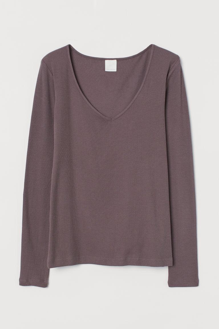 H & M - 羅紋棉質上衣 - 紫色