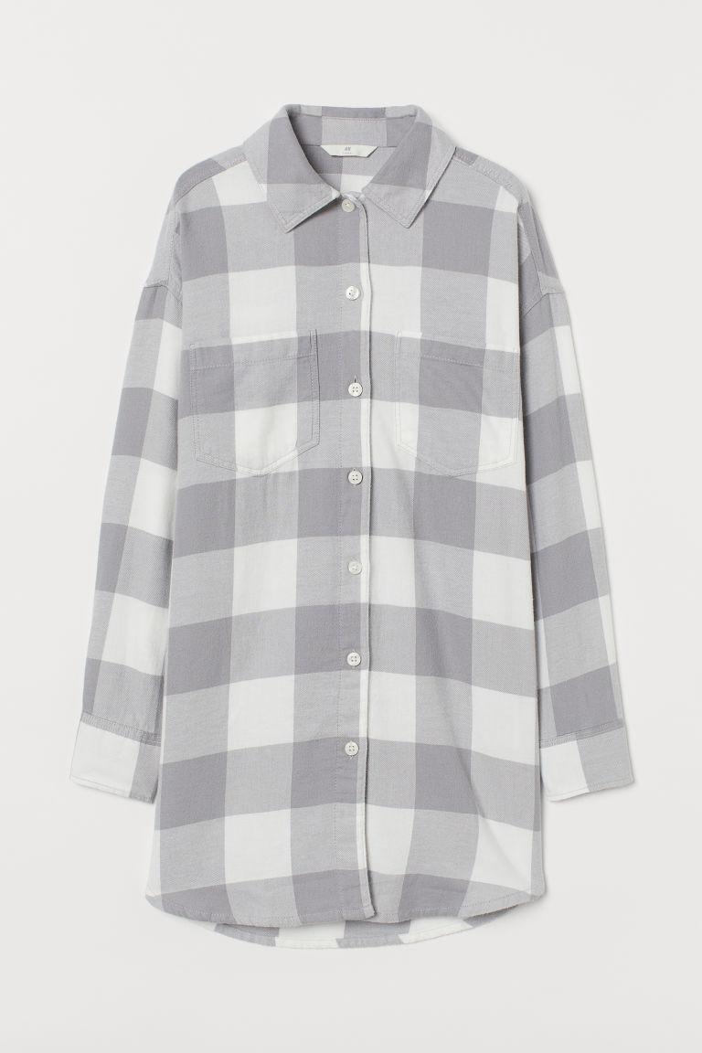 H & M - 長版襯衫 - 灰色