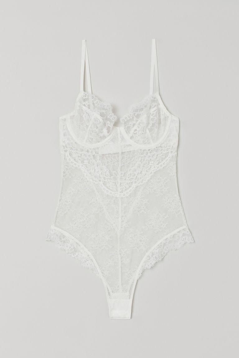 H & M - 蕾絲緊身連身衣 - 白色