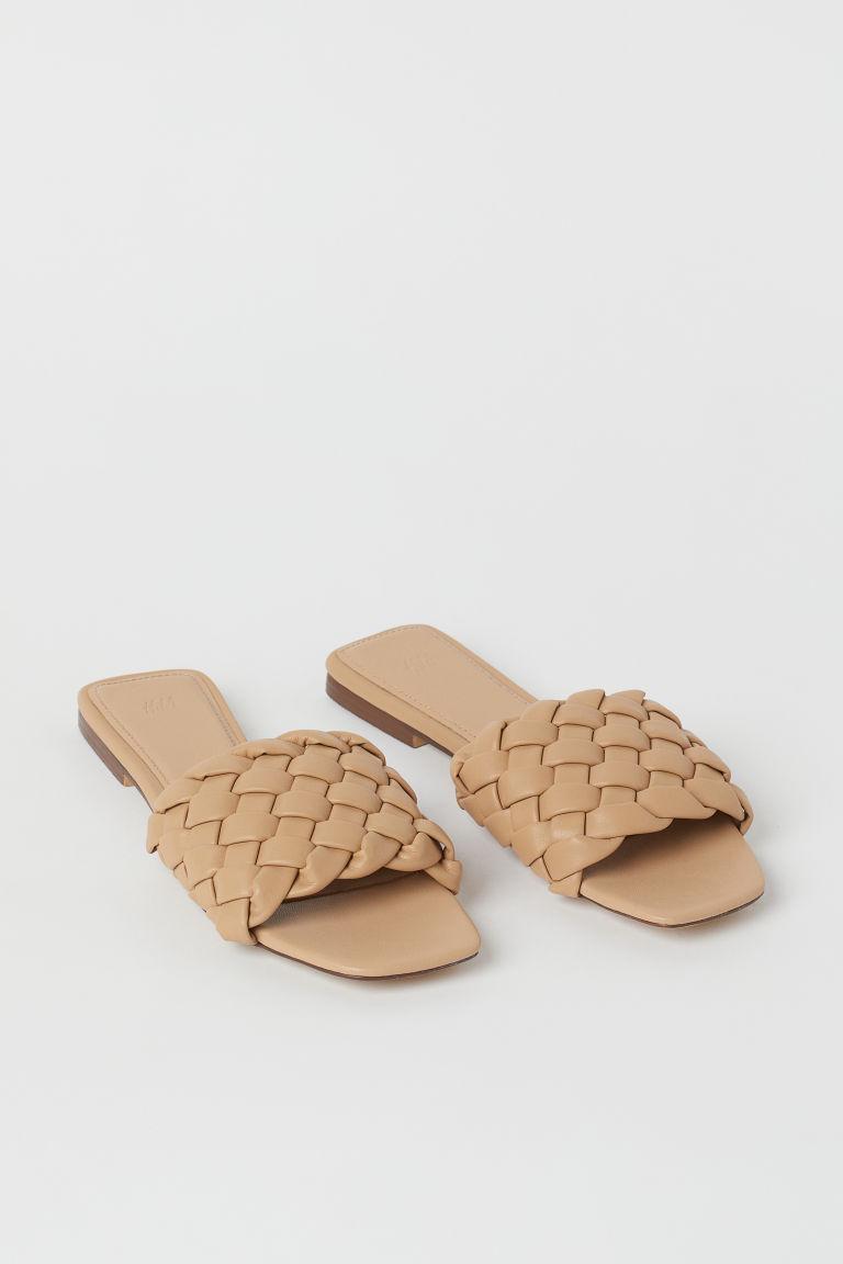 H & M - 編織涼鞋 - 米黃色