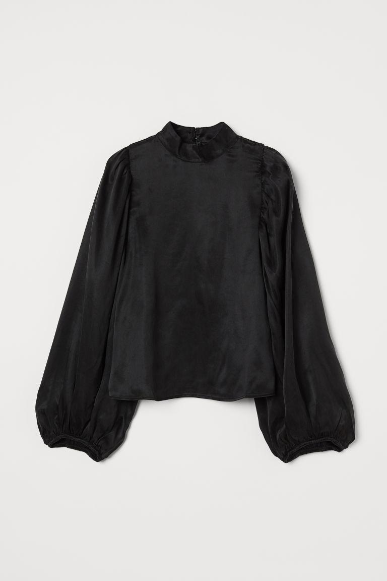 H & M - 萊賽爾混紡綢緞女衫 - 黑色