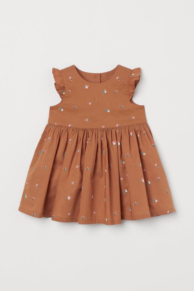 H & M - 印花棉質洋裝 - 橙色