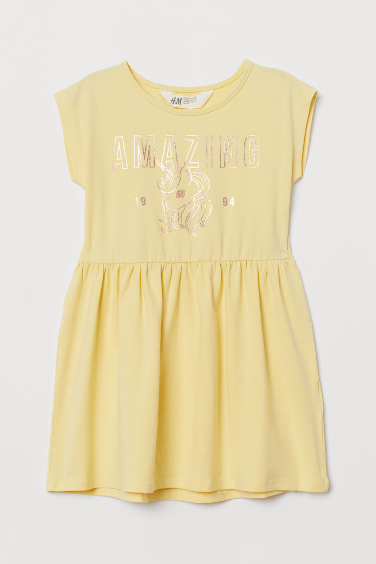 H & M - 圖案平紋洋裝 - 黃色