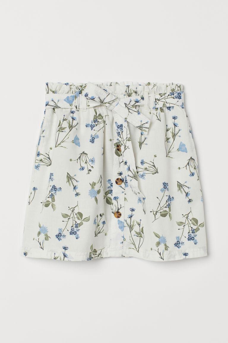 H & M - 紙袋造型腰圍短裙 - 白色