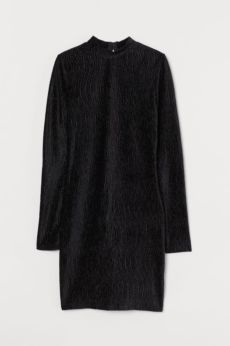 H & M - 褶縐絲絨洋裝 - 黑色