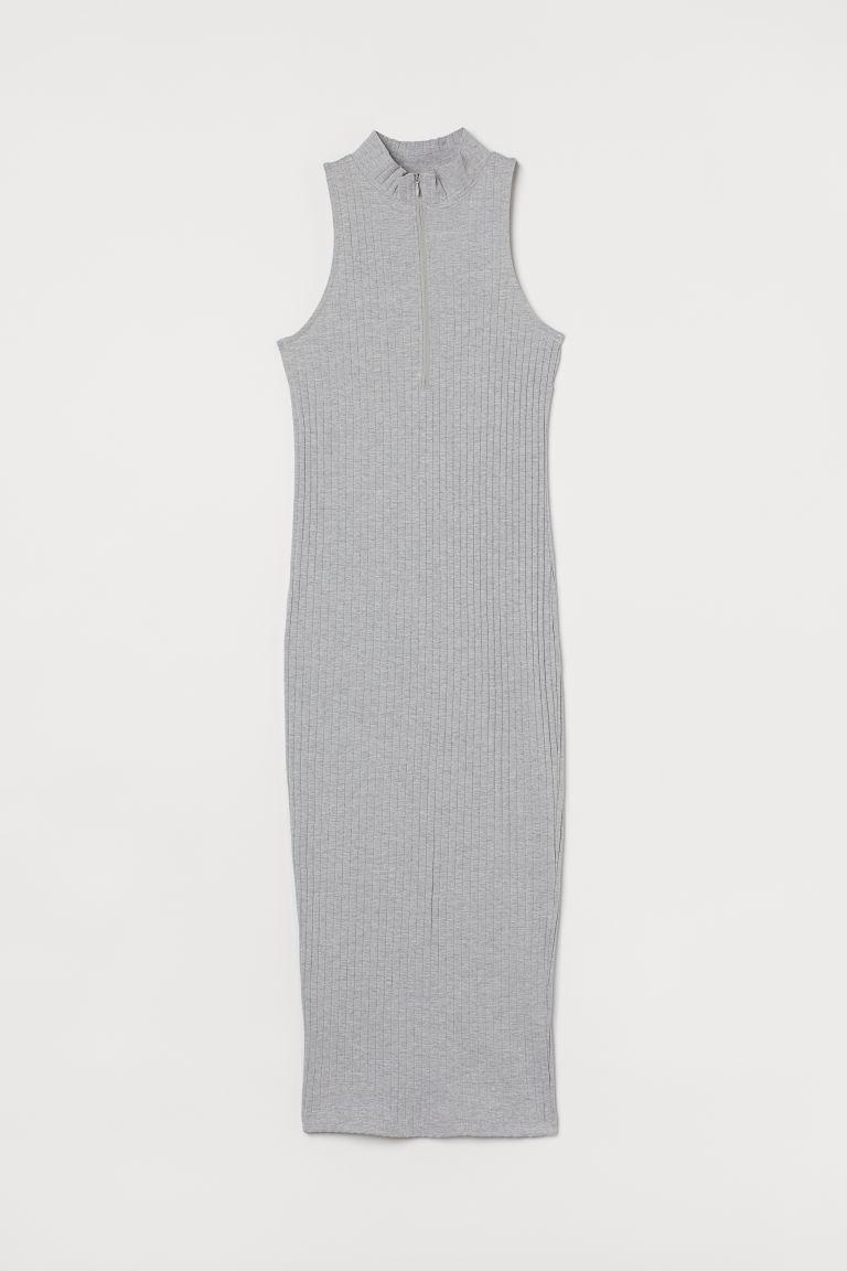 H & M - 羅紋立領洋裝 - 灰色